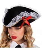 Chapeau pirate femme, tricorne pirate avec nœud rouge et dentelle