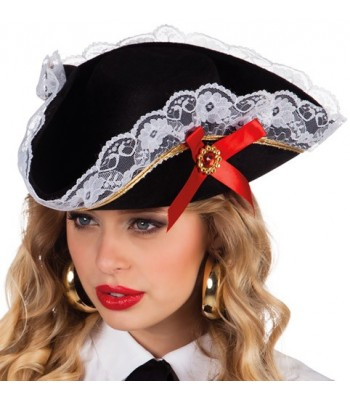 Chapeau pirate femme avec dentelle