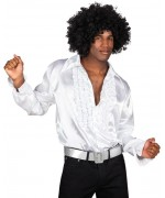 Chemise disco blanche avec ruches également disponible en grande taille (XXL pour homme) - années 70