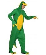 Déguisement de dragon vert adulte, combinaison à capuche