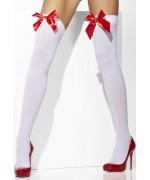 Paire de bas blancs avec nœud rouge BZ339A