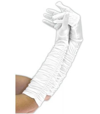 Gants blancs plissés 43 cm