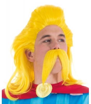 Perruque et moustache assurancetourix adulte