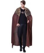 Cape médiévale marron avec fourrure pour homme idéale pour vous permettre d'incarner un personnage digne de Game of Thrones