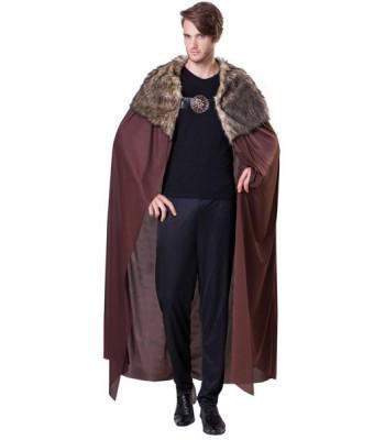 Cape médiévale marron avec fourrure homme