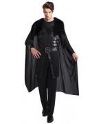Déguisement de chevalier noir luxe avec haut et cape intégrée,idéale pour incarner un personnage futuriste ou médiéval