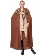 Cape médiévale marron avec fourrure pour femme