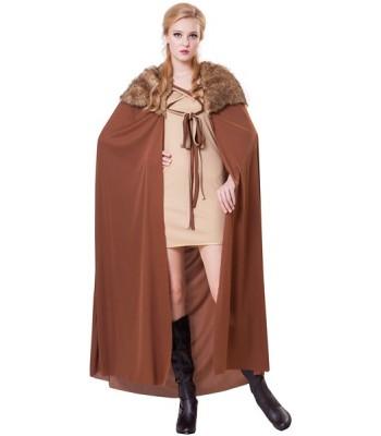 Cape médiévale marron avec fourrure femme