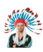 Coiffe indienne pour homme avec plumes bleues, rouges et blanches
