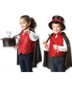 Déguisement magicien pour filles et garçons avec chapeau et baguette magique