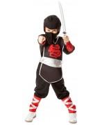 Déguisement de ninja noir et rouge pour filles et garçons de 3 à 6 ans - panoplie ninja