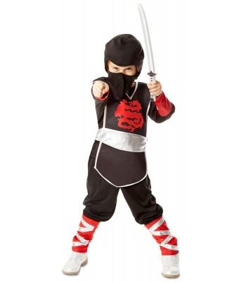 Déguisement ninja noir et rouge enfant