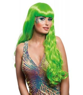 Perruque longue vert fluo avec frange