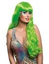 Longue perruque de couleur vert fluo pour femme avec frange