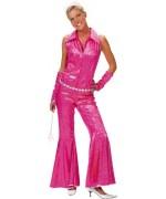 Déguisement disco rose femme avec combinaison et manchons