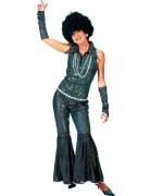 Déguisement disco chic femme, combinaison noire avec mitaines assorties