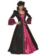 Déguisement de marquise baroque noire et rose idéale pour le carnaval et halloween