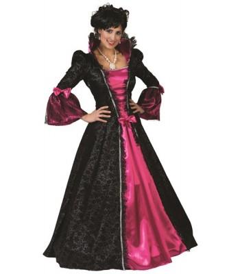 Déguisement marquise baroque noire et rose