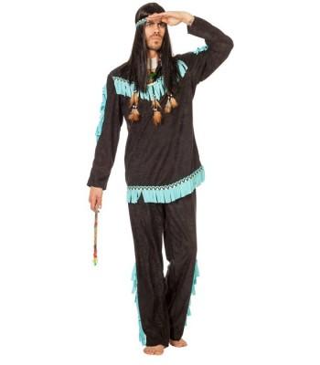 Déguisement indien homme noir et bleu