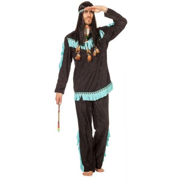 d guisement indien noir et bleu homme la magie du d guisement costume guerrier indien et far west. Black Bedroom Furniture Sets. Home Design Ideas