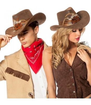 Chapeau cowboy luxe avec plumes
