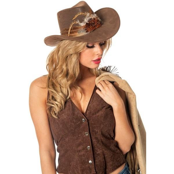 ... Chapeau de cowgirl avec plumes, couleur brun - accessoire western   far  west 1df9223bb56