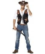Gilet de cowboy pour homme, veste de sheriff noir également disponible en grande taille