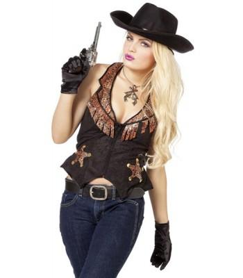 gilet cowboy femme sheriff la magie du deguisement achat vente d 39 accessoires et costumes farwest. Black Bedroom Furniture Sets. Home Design Ideas
