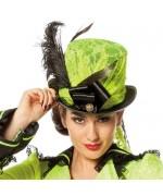 Chapeau de forme vert neon, chapeau décoré au design soigné pour accessoiriser tous vos costumes
