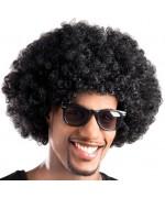 Perruque afro noir effet réaliste pour hommes et femmes - années 70 et disco