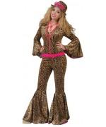 déguisement pimp léopard femme luxe, combinaison léopard avec pattes d'eph