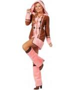 Déguisement femme esquimau rose avec robe-manteau et jambières
