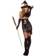 Déguisement de sorcière noire à paillettes pour femme, robe avec ceinture et chapeau