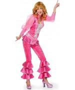 Déguisement disco rose luxe pour femme avec tunique, pantalon et ceinture