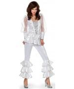 Déguisement disco blanc pour femme idéal pour incarner une star du groupe Abba