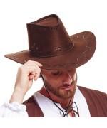 Chapeau de cowboy marron avec coutures