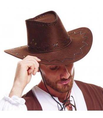 Chapeau cowboy marron avec coutures