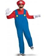 Déguisement Mario adulte, costume Nintendo avec ventre gonflable, gants et moustache