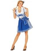 Déguisement bavaroise bleu femme avec robe et tablier - Oktoberfest & Fête de la bière