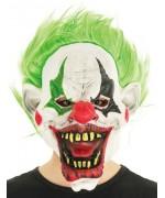 Masque de clown halloween avec cheveux verts