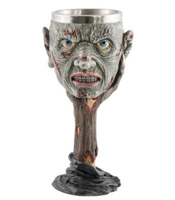 Verre à pied zombie en résine et metal