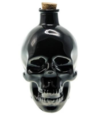 Bouteille tête de mort noir en verre