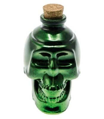 Bouteille tête de mort métallisée halloween