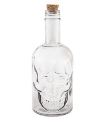 Bouteille halloween tête de mort transparente