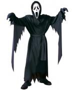 Déguisement Scream 10 - 12 ans, tunique noire à capuche avec ceinture et masque de Scream