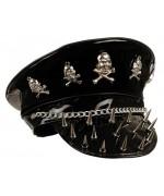Casquette de rockeur vinyle noir - cuir et moustaches
