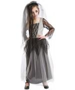 Déguisement mariée zombie fille avec robe et voile - costume halloween