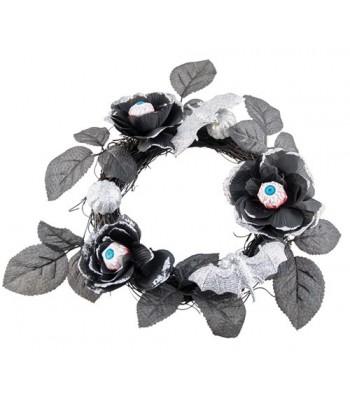 Couronne de roses noires halloween
