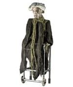 Décoration animé pour halloween, vieille dame en déambulateur