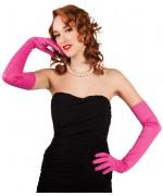 Paire de longs gants roses pour adulte